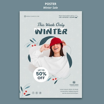 Szablon plakatu na zimową wyprzedaż