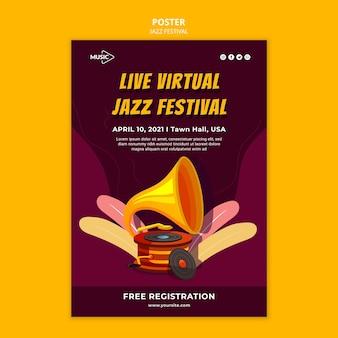 Szablon plakatu na żywo wirtualnego festiwalu jazzowego