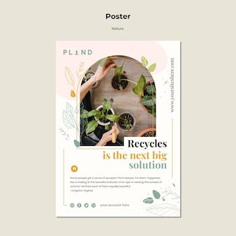 Szablon plakatu naturalnych roślin