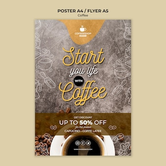 Szablon plakatu oferty specjalnej kawy