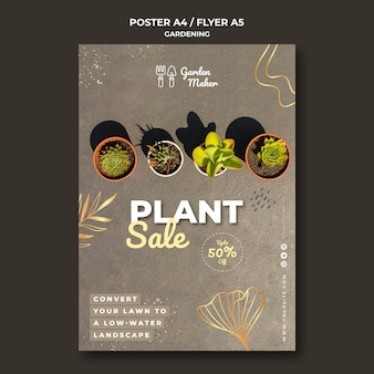 Szablon plakatu ogrodniczego ze zdjęciem