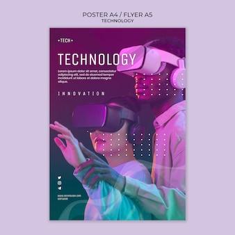 Szablon plakatu okulary wirtualnej rzeczywistości