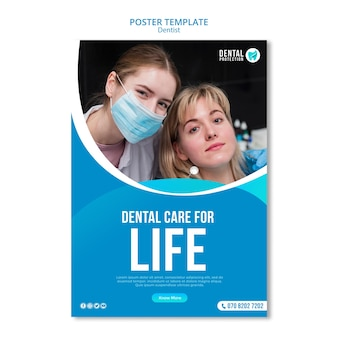 Szablon plakatu opieki stomatologicznej na życie