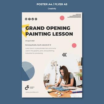 Szablon plakatu otwierającego lekcję malowania