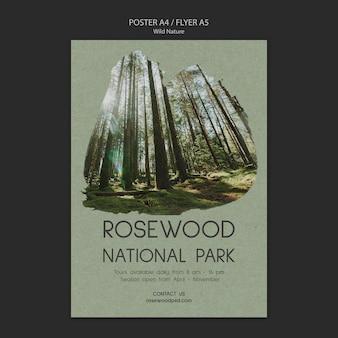 Szablon plakatu parku narodowego rosewood z wysokich drzew