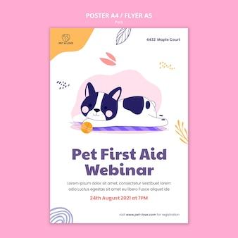 Szablon plakatu pierwszej pomocy dla zwierząt domowych