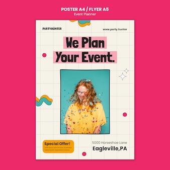 Szablon plakatu pionowego do planowania wydarzeń