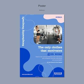 Szablon plakatu pionowego fitness wellness