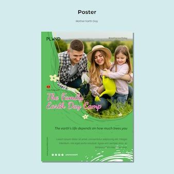 Szablon plakatu pionowego obchodów dnia matki ziemi