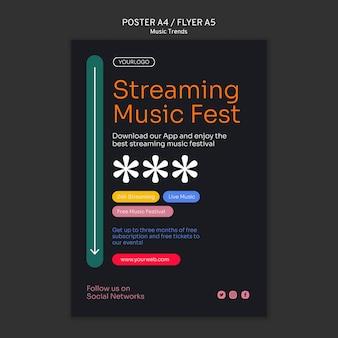 Szablon plakatu platformy strumieniowego przesyłania muzyki
