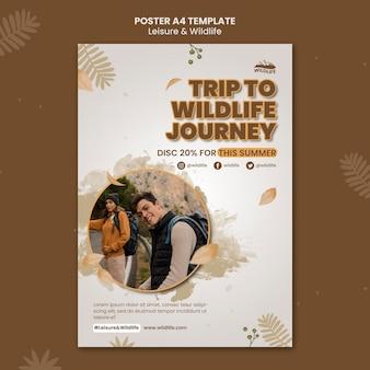 Szablon plakatu podróży dzikiej przyrody