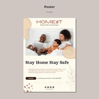 Szablon plakatu pozostań w domu, bądź bezpieczny