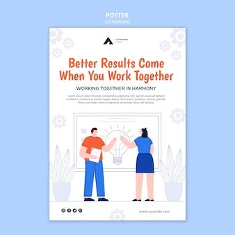 Szablon plakatu pracującego razem