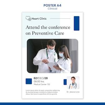 Szablon plakatu profesjonalnej kliniki ze zdjęciem