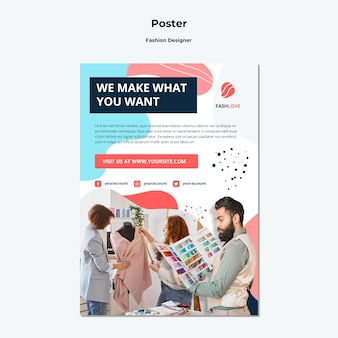 Szablon plakatu projektanta mody