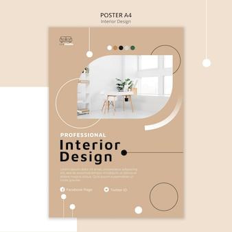 Szablon plakatu projektowania wnętrz