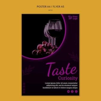 Szablon plakatu promocyjnego wina ze zdjęciem