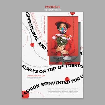Szablon plakatu przedstawiający trendy w modzie z kobietą noszącą maskę