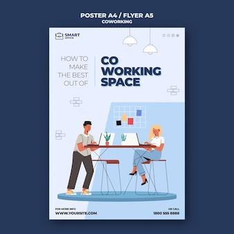 Szablon plakatu przestrzeni coworkingowej