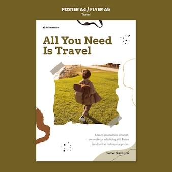 Szablon plakatu przygodowej podróży
