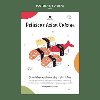 Szablon plakatu pyszne dania kuchni azjatyckiej