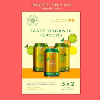 Szablon plakatu pyszne organiczne soki