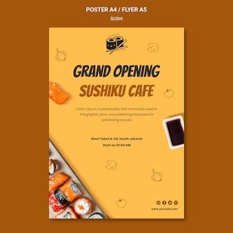 Szablon plakatu pyszne sushi