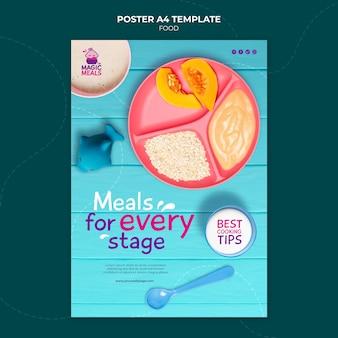 Szablon plakatu pysznego posiłku dla dzieci