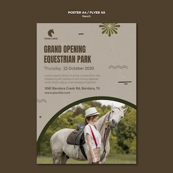 Szablon plakatu ranczo koni