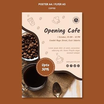 Szablon plakatu reklamy kawiarni