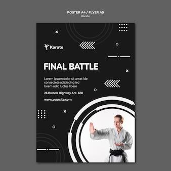 Szablon plakatu reklamy klasy karate