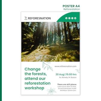 Szablon plakatu reklamy ponownego zalesiania