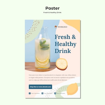 Szablon plakatu reklamy soku owocowego