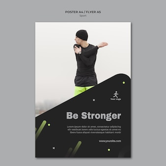 Szablon plakatu reklamy treningu fitness