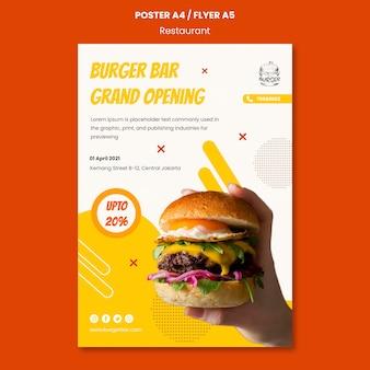 Szablon plakatu restauracji burger