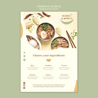 Szablon plakatu restauracji ramen