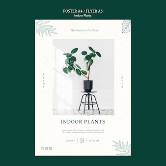 Szablon plakatu roślin domowych