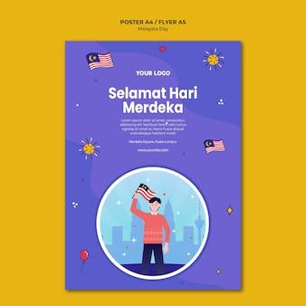 Szablon plakatu selemat hari merdeka w malezji