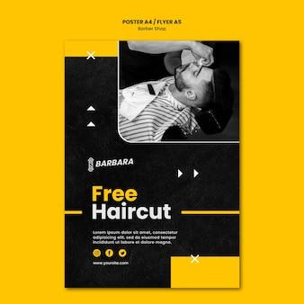 Szablon plakatu sklepu fryzjerskiego
