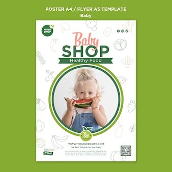 Szablon plakatu sklepu spożywczego dla dzieci