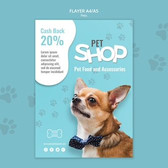 Szablon plakatu sklepu zoologicznego ze zdjęciem małego psa