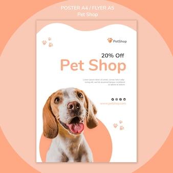 Szablon plakatu sklepu zoologicznego