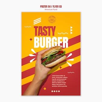 Szablon plakatu smaczne cheeseburger amerykańskie jedzenie