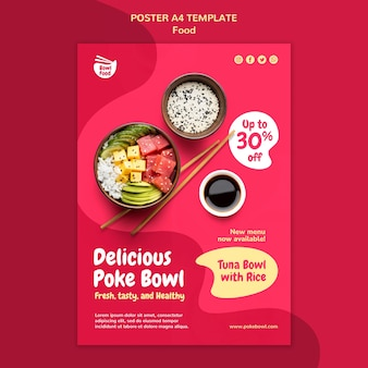Szablon plakatu smaczny poke bowl