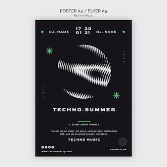 Szablon plakatu streszczenie festiwalu muzyki techno