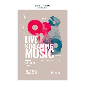 Szablon plakatu strumieniowego przesyłania muzyki na żywo