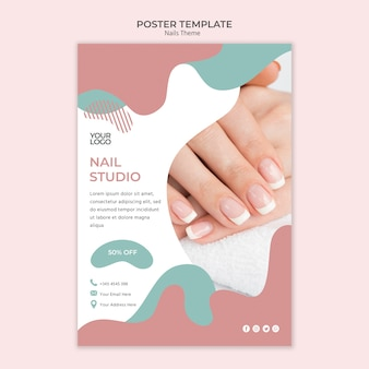 Szablon plakatu studio paznokci