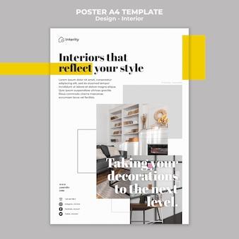 Szablon plakatu styl projektowania wnętrz