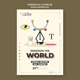 Szablon plakatu światowego dnia grafiki