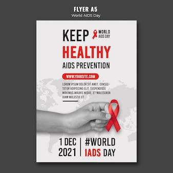 Szablon plakatu światowego dnia pomocy z czerwoną wstążką